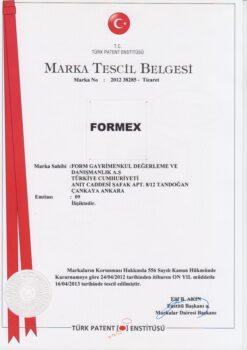 MARKA TESCİL BELGESİ FORMEX